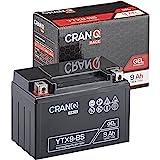 CranQ Motorradbatterie YTX9-BS 9Ah 130A 12V Gel-Technologie Roller Starter-Batterie zyklenfest, sicher lagerfähig, wartungsfrei